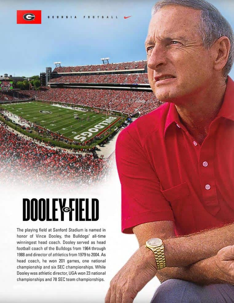 To Coach Vince Dooley Congratulations On An Honor Overdue And