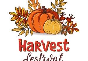 Harvest Festival hand drawn lettering and typographic text with decorative pumpkins. Harvest symbols. Autumn harvest fest design for banner, poster, cards, tags. Isolated vector illustration